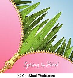 Spring grass with zipper