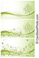 Spring green banner. Set