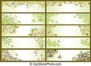 Spring green decorative banners