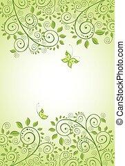 Spring green decorative floral banner