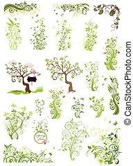 Spring green floral design elements