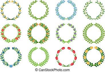 Spring green floral wreaths