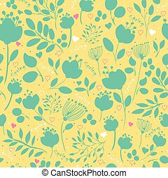 Spring Green  Flowers. Vector Seamless Pattern