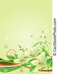 Spring green frame with lilies and abstract elements