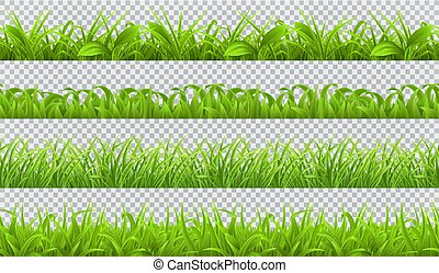 Spring green grass, seamless pattern. 3d realistic vector set