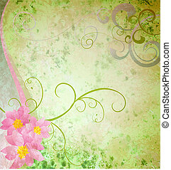 spring green grunge background with pink flowers and butterflies