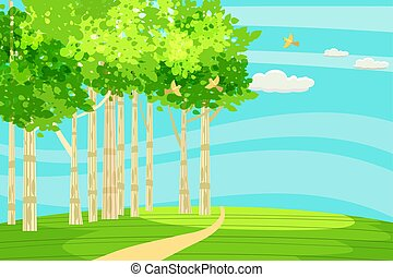 Spring green landscape at the edge of the forest, a hill. The path goes into the distance. Birds singing. Blue sky. Bright juicy colors. Vector, illustration, isolated. Cartoon style