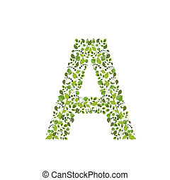 Spring green leaves. eco letter A