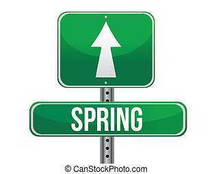 spring green traffic road sign