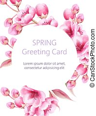 Spring greeting card with watercolor sakura flowers. Circle frame for text