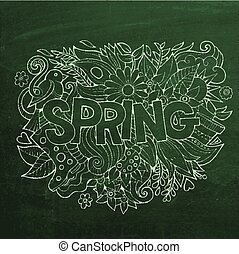 Spring hand lettering and doodles elements. chalk board...