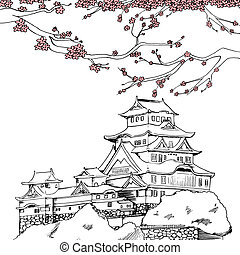 Spring Himeji Castle - Line art illustration of Japanese...