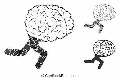 spring, hjärna, tuberous, särar, ikon, mosaik