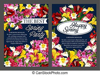 Spring Holiday party banner with Springtime flower