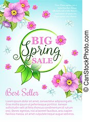 Spring holiday sale vector flowers poster template