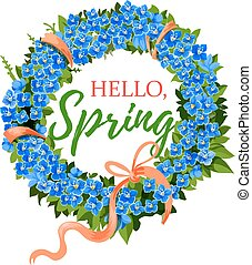 Spring holiday vector crocus flowers wreath