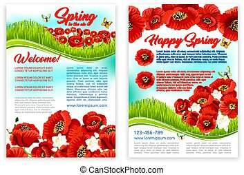 Spring holidays poster template with poppy flower