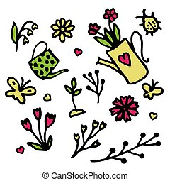 Spring icon set in hand drawn style. Gardening cute collection of design elements, isolated on white background. Nature clip art