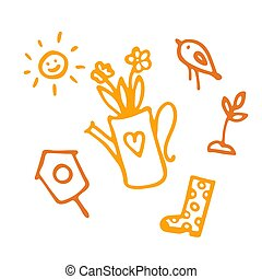Spring icon set in hand drawn style. Gardening cute collection of design elements, isolated on white background. Nature clip art.