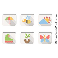 Spring icons buttons isolated on white