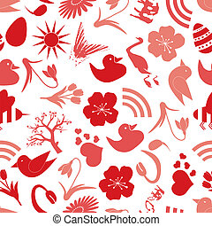 spring icons seamless pattern eps10