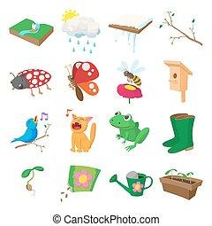 Spring icons set, cartoon style