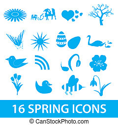 spring icons set eps10