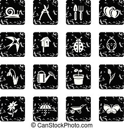 Spring icons set grunge vector
