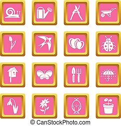 Spring icons set pink square vector