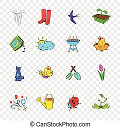 Spring icons set, pop-art style