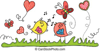 Spring illustration with birds singing