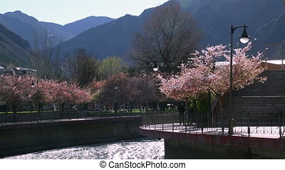 spring in Andorra on a background of mountains and mountain...