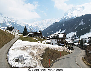 Spring in Engelberg, famous Swiss skiing resort