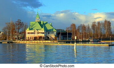 Spring in Finland - Spring scenery of sea island with house...