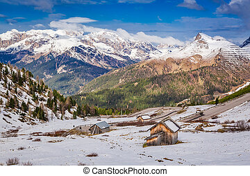 Spring in high Dolomites with snow, Alps, Italy, Europe