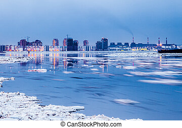 Spring in Khabarovsk. Floating of ice