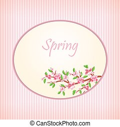 Spring in the cherry orchard. Cherry blossoms on the spring sky. Sunny warm day. Card. vector illustration. Eps 10.