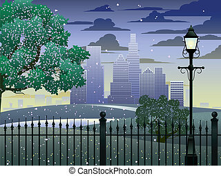 Spring in the park - Park and cityscape vector background -...