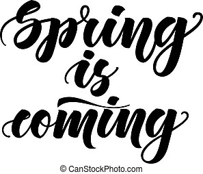 Spring is coming. Inspirational lettering isolated on white background. Vector illustration for posters, phone wallpaper and much more.