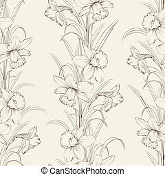 Spring isolated flowers fabric seamless pattern