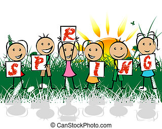 Spring Kids Represents Springtime Youngsters And Children