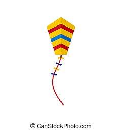 Spring kite icon, flat style