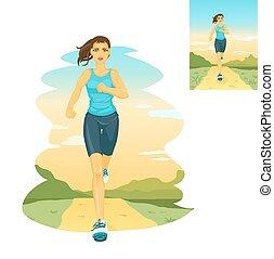 spring, kvinna, morgon, joggning