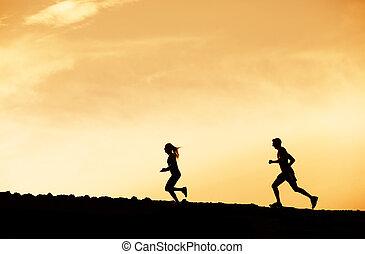 spring, kvinna, solnedgång, tillsammans, man