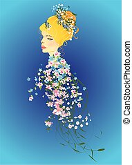 Spring lady in flowers,