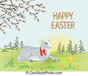 Spring landscape and Easter lamb vector.eps - Spring...