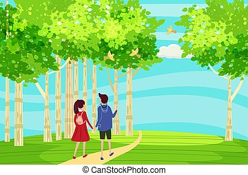 Spring landscape at the edge of the forest, a hill. A couple of characters in love goes down the path to the horizon. Birds singing. Blue sky. Bright juicy colors. Vector, illustration, isolated. Cartoon style