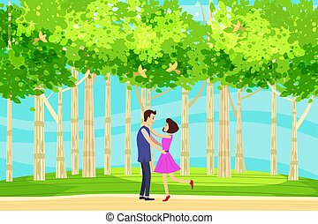 Spring landscape at the edge of the forest, a hill. Meeting lovers of characters in love. Birds singing. Blue sky. Bright juicy colors. Vector, illustration, isolated. Cartoon style