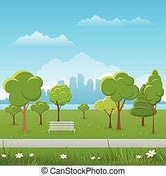 Spring landscape background. Public park Vector illustration. city in background