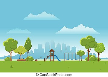 Spring landscape background. Public park Vector illustration. city in background